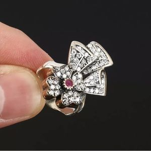 Sultan Ottoman Modern Flower Ruby Silver Ring